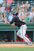 Third baseman Nick Basto (27) of the Kannapolis Intimidators in a game against the Greenville Drive on Monday, August 5, 2013, at Fluor Field at the West End in Greenville, South Carolina. Kannapolis won, 3-0. (Tom Priddy/Four Seam Images)