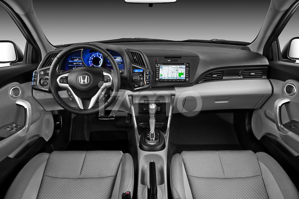 Straight dashboard view of a 2011 Honda CR-Z EX Nav Hybrid Hatchback.