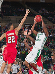 North Texas Mean Green guard Alzee Williams (3) and Louisiana Lafayette Ragin Cajuns guard Raymone Andrews (22) in action during the game between the Louisiana Lafayette Ragin Cajuns and the University of North Texas Mean Green at the North Texas Coliseum,the Super Pit, in Denton, Texas. Louisiana Lafayette defeats UNT 57 to 53.