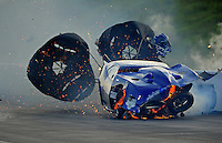 Jun. 18, 2011; Bristol, TN, USA: NHRA pro mod driver Roger Burgess crashes  after winning the first round race during eliminations at the Thunder Valley Nationals at Bristol Dragway. Mandatory Credit: Mark J. Rebilas-