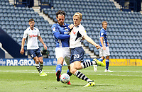 Preston North End's Jayden Stockley gets a shot on goal as Cardiff City's Sean Morrison tries to block him<br /> <br /> Photographer Mick Walker/CameraSport<br /> <br /> The EFL Sky Bet Championship - Preston North End v Cardiff  City - Saturday 27th June 2020 - Deepdale Stadium - Preston<br /> <br /> World Copyright © 2020 CameraSport. All rights reserved. 43 Linden Ave. Countesthorpe. Leicester. England. LE8 5PG - Tel: +44 (0) 116 277 4147 - admin@camerasport.com - www.camerasport.com