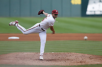 Arkansas Kevin Kopps (45) pitches, Monday, June 7, 2021 in the fifth inning of the NCAA Fayetteville Regional at Baum-Walker Stadium in Fayetteville. Check out nwaonline.com/210608Daily/ for today's photo gallery. <br /> (NWA Democrat-Gazette/Charlie Kaijo)