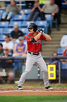Erie SeaWolves right fielder Jake Robson (3) at bat during a game against the Binghamton Rumble Ponies on May 14, 2018 at NYSEG Stadium in Binghamton, New York.  Binghamton defeated Erie 6-5.  (Mike Janes/Four Seam Images)