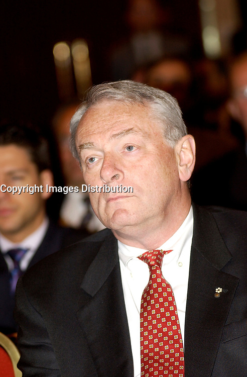 June 3, 2002, Montreal, Quebec, Canada; <br /> <br />  Richard Pound, Chairman of the World Anti-<br /> Doping Agency <br />  before signing an agreemeent regarding the Agency's new headquarter in Montreal, June 3, 2002<br /> <br /> <br /> <br /> <br /> (Mandatory Credit: Photo by Sevy - Images Distribution (©) Copyright 2002 by Sevy<br /> <br /> NOTE :  D-1 H original JPEG, saved as Adobe 1998 RGB