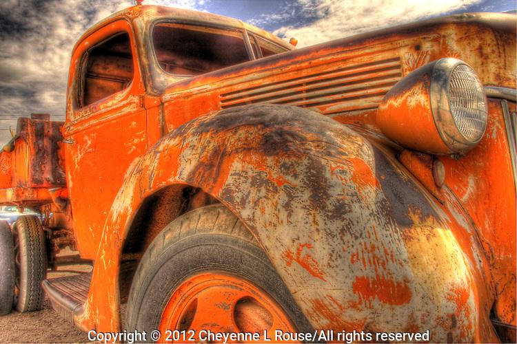 Orange Dept of Transportation Truck at Wigwam Village on Route 66 in Holbrook, Arizona