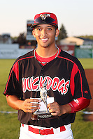 """Batavia Muckdogs outfielder Nick Longmire displays his """"Most Popular Player"""" award before game vs. the Jamestown Jammers at Dwyer Stadium in Batavia, New York September 2, 2010.   Jamestown defeated Batavia 5-4.  Photo By Mike Janes/Four Seam Images"""