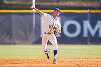 High Point Panthers shortstop Tony Fortier-Bensen (8) makes a throw to first base against the Bowling Green Falcons at Willard Stadium on March 9, 2014 in High Point, North Carolina.  The Falcons defeated the Panthers 7-4.  (Brian Westerholt/Four Seam Images)