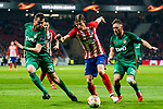 Filipe Luis (C) of Atletico de Madrid fights for the ball with Solomon Kvirkvelia (L) of FC Lokomotiv Moscow during the UEFA Europa League 2017-18 Round of 16 (1st leg) match between Atletico de Madrid and FC Lokomotiv Moscow at Wanda Metropolitano  on March 08 2018 in Madrid, Spain. Photo by Diego Souto / Power Sport Images