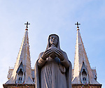 Virgin Mary - Statue of the Virgin Mary, and the spires of Notre Dame Cathedral, Saigon, Viet Nam
