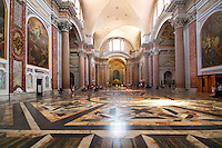 """This ancient basilica was once part of the biggest """"terme"""" in ancient Rome - Terme di Diocleziano. It was tranfored into the S. Maria degli Angeli and dei Martiri church in XVI century according to Michelangelo project. This ancient basilica is standing beside Piazza della Republica in Rome, Italy."""