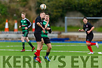 Asdee Rovers Michael Fogerty and Donal Dillane of Ballymac Celtic tussle for possession in the encounter in the Denny league