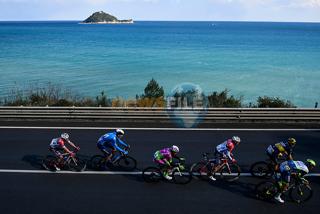 The breakaway pass the Ligurian coast during the 112th edition of Milan-San Remo 2021, running 299km from Milan to San Remo, Italy. 20th March 2021. <br /> Photo: LaPresse/Fabio Ferrari | Cyclefile<br /> <br /> All photos usage must carry mandatory copyright credit (© Cyclefile | LaPresse/Fabio Ferrari)