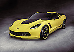 Yellow 2016 Chevrolet Corvette Z06 coupe luxury sports car super car on gray concrete background with clipping path Image © MaximImages, License at https://www.maximimages.com