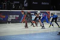 SPEEDSKATING: DORDRECHT: 05-03-2021, ISU World Short Track Speedskating Championships, Heats 1000m Ladies, Courtney Sarault (CAN), Evgeniya Zakharova (RSU), Valentina Ascic (CRO), Yana Khan (KAZ), ©photo Martin de Jong