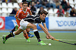 GER - Mannheim, Germany, May 16: During the whitsun tournament boys hockey match between Germany (black) and The Netherlands (orange) on May 16, 2016 at Mannheimer HC in Mannheim, Germany. Final score 4-3 (HT 2-0). (Photo by Dirk Markgraf / www.265-images.com) *** Local caption *** Robert Duckscheer #27 of Germany (U16)