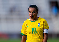 ORLANDO, FL - FEBRUARY 18: Marta #10 of Brazil watches the ball during a game between Argentina and Brazil at Exploria Stadium on February 18, 2021 in Orlando, Florida.