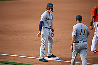 Trenton Thunder center fielder Trey Amburgey (14) on third base during the first game of a doubleheader against the Bowie Baysox on June 13, 2018 at Prince George's Stadium in Bowie, Maryland.  Trenton defeated Bowie 4-3.  (Mike Janes/Four Seam Images)