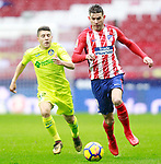 Atletico de Madrid's Lucas Hernandez (r) and Getafe CF's Francisco Portillo during La Liga match. January 6,2018. (ALTERPHOTOS/Acero)