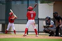 GCL Phillies West Jose Rivera (8) bats during a Gulf Coast League game against the GCL Tigers West on July 27, 2019 at the Carpenter Complex in Clearwater, Florida.  (Mike Janes/Four Seam Images)