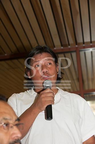 Washington DC, USA. Chico Vive conference, 5th April 2014. Conference speaker Hiparidi Top'tiro, Xavante leader.