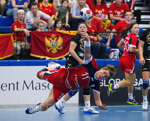 30 MAY 2012 - LONDON, GBR - Lyn Byl (GBR) of Great Britain dives as she shoots during the women's 2012 European Handball Championship qualification match against Montenegro at the National Sports Centre in Crystal Palace, Great Britain .(PHOTO (C) 2012 NIGEL FARROW)