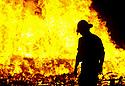 24/06/2002. Alcala de Henares. Madrid. Spain. A firefighter in the San Juan Fire Fair. ´Hoguera de San juan´.  (C) Eduardo Dieguez/ DyD Fotografos
