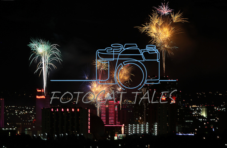 The Reno, Nev., skyline lights up with fireworks during the 2012 New Years celebration, Jan. 1, 2012. .Photo by Cathleen Allison