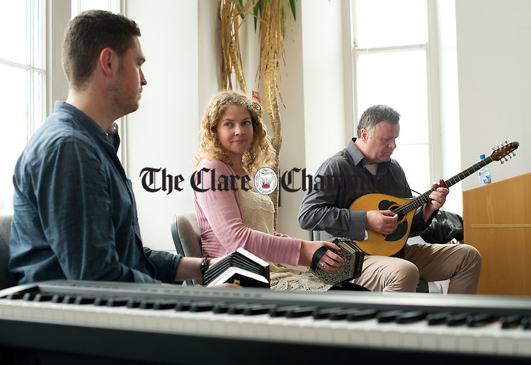 Jack Talty, Lorraine Ni Bhriain and Eoin O Neill performing during the Riches Of Clare free lunchtime concert which occurs on Wednesdays in the Clare County Museum. Photograph by John Kelly.