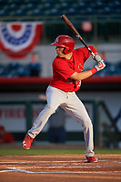 Palm Beach Cardinals right fielder Dylan Carlson (19) at bat during a game against the Florida Fire Frogs on May 1, 2018 at Osceola County Stadium in Kissimmee, Florida.  Florida defeated Palm Beach 3-2.  (Mike Janes/Four Seam Images)