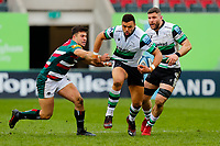 28th March 2021; Mattoli Woods Welford Road Stadium, Leicester, Midlands, England; Premiership Rugby, Leicester Tigers versus Newcastle Falcons; Luther Burrell of Newcastle Falcons breaks the tackle of Dan Kelly of Leicester Tigers