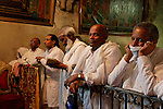 Ethiopian pilgrims praying at the Ethiopian Chapel at the Church of the Holy Sepulchre on Holy Saturday, Easter 2006<br />