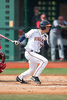 Adam Haseley (7) of the Virginia Cavaliers follows through on his swing against the Hartford Hawks at The Ripken Experience on February 27, 2015 in Myrtle Beach, South Carolina.  The Cavaliers defeated the Hawks 5-1.  (Brian Westerholt/Four Seam Images)