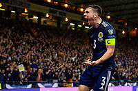 9th October 2021; Hampden Park, Glasgow, Scotland; FIFA World Cup football qualification, Scotland versus Israel;  Lyndon Dykes of Scotland celebrates the goal for 2-2 after VAR rules no infraction in minute 55