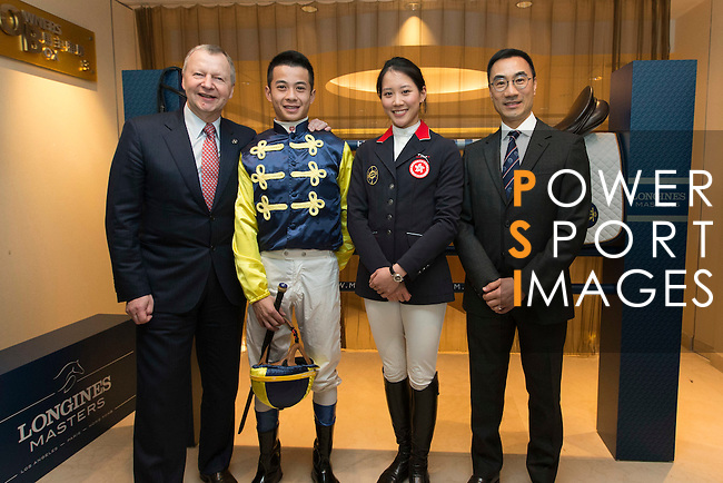 L-R: Winfried Engelbrecht-Bresges, JP, CEO of The Hong Kong Jockey Club, Derek  Leung Ka-chun, Masters rider, Jacqueline Lai, Masters rider, Michael Lee, President of Hong Kong Equestrian Federation,  at Longines Hong Kong Masters official press conference at the Happy Valley Racetrack on February 02, 2016 in Hong Kong.  Photo by Victor Fraile / Power Sport Images