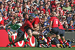Lansdowne Road, Dublin Ireland, All Irish Heineken Cup semi Final Between Leinster and Munster. 23/4/06 Leinster No 14 Shane Horgan picks his head out as the Munster men push towards another try..Photo NEWSFILE/Fran Caffrey..(Photo credit should read FRAN CAFFREY/NEWSFILE).