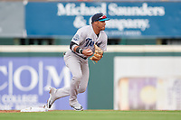 Tampa Tarpons third baseman Roberto Chirinos (14) turns a double play in the shift during Game One of the Low-A Southeast Championship Series against the Bradenton Marauders on September 21, 2021 at LECOM Park in Bradenton, Florida.  (Mike Janes/Four Seam Images)