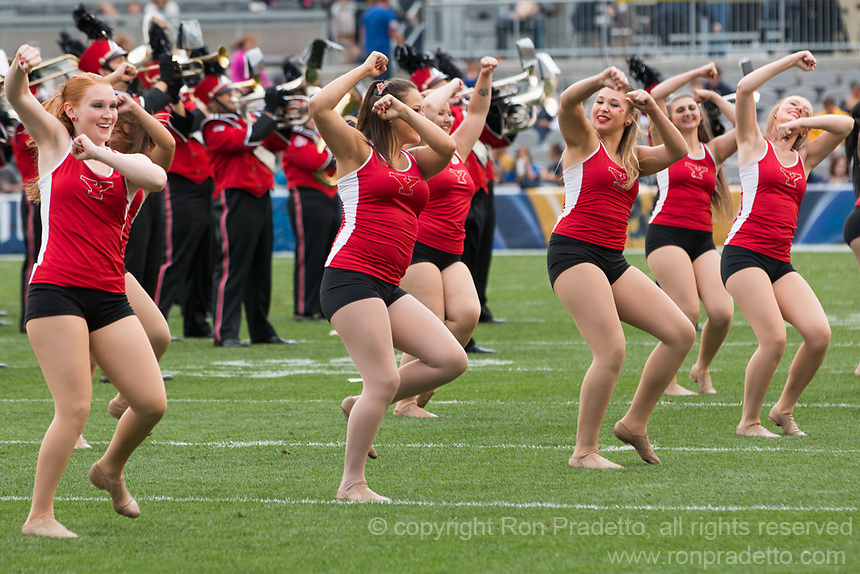 The Youngstown State dance team performs. The Pitt Panthers defeated the Youngstown State Penguins 28-21 in overtime at Heinz Field, Pittsburgh, Pennsylvania on September 02, 2017.