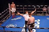 Karol Itauma (white shorts) defeats Ryan Hibbert during a Boxing Show at York Hall on 24th April 2021