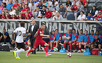 Commerce City, CO - Thursday June 08, 2017: Bruce Arena, Jorge Villafana during a 2018 FIFA World Cup Qualifying Final Round match between the men's national teams of the United States (USA) and Trinidad and Tobago (TRI) at Dick's Sporting Goods Park.
