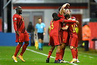 15th November 2020; Leuven, Belgium;  Dries Mertens forward of Belgium celebrates scoring Belgiums 2nd goal with teammates during the UEFA Nations League match group stage final tournament - League A - Group 2 between Belgium and England