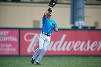 Miami Marlins left fielder Kameron Misner (23) catches a fly ball during an Instructional League game against the Washington Nationals on September 25, 2019 at Roger Dean Chevrolet Stadium in Jupiter, Florida.  (Mike Janes/Four Seam Images)