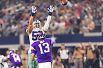 Dallas Cowboys linebacker Cameron Lawrence (53) and Minnesota Vikings quarterback Shaun Hill (13) in action during the pre-season game between the Minnesota Vikings and the Dallas Cowboys at the AT & T stadium in Arlington, Texas. Minnesota defeats the Cowboys 28 to 14.