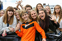 London, UK on Sunday 31st August, 2014. Bailey McConnell with fans during the Soccer Six charity celebrity football tournament at Mile End Stadium, London.