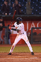 Lansing Lugnuts Reggie Pruitt (5) at bat during a Midwest League game against the Wisconsin Timber Rattlers at Cooley Law School Stadium on May 2, 2019 in Lansing, Michigan. Lansing defeated Wisconsin 10-4. (Zachary Lucy/Four Seam Images)