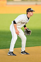 Shortstop Jack Fischer #15 of the Wake Forest Demon Deacons on defense against the Charlotte 49ers at Gene Hooks Field on March 22, 2011 in Winston-Salem, North Carolina.   Photo by Brian Westerholt / Four Seam Images