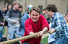 Apr 28, 2014; Zahm House competes against St. Eds in the Residence Hall tug of war challenges on the North Quad as part of Notre Dame Day. Zahm won the competition. Photo by Barbara Johnston/University of Notre Dame