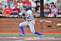 Kingsport Mets Jhoander Saez (10) swings at a pitch during a game against the Johnson City Cardinals at TVA Credit Union Ballpark on June 28, 2019 in Johnson City, Tennessee. The Cardinals defeated the Mets 7-4. (Tony Farlow/Four Seam Images)