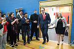 © Joel Goodman - 07973 332324 . 23/02/2017 . Stoke-on-Trent , UK . Gareth Snell arrives with his wife Sophia Snell at the count in the by-election for the constituency of Stoke-on-Trent Central , at Fenton Manor Sports Complex . Photo credit : Joel Goodman