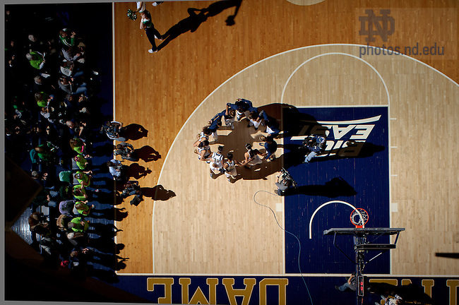 Feb 26, 2013; The Women's Basketball team huddles before the game against Syracuse...Photo by Matt Cashore/University of Notre Dame