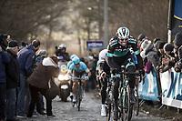 Daniël Oss (ITA/Bora Hansgrohe) up the Bosberg.<br /> <br /> 73th Omloop Het Nieuwsblad 2018<br /> Gent-Meerbeke (BEL) - 196km